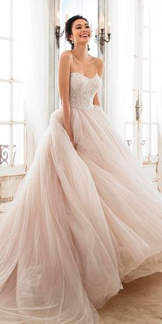 2018 Wedding Dress Trends to Love Part 1 — Silhouettes and Sleeves sophia tolli 2018 bridal trends strapless sweetheart beaded bodice ball gown wedding dress (zephyra) mv romantic pink blush color — 2018 Wedding Dress Trends to Love Part 1 Light Pink Wedding Dress, Pink Wedding Dresses, Bridal Dresses, Wedding Dress Pink, Dresses Dresses, Long Dresses, Tulle Ballgown Wedding Dress, Dresses Online, Vintage Bridesmaid Dresses