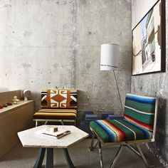 upholstered chairs via The Line Hotel/afar magazine