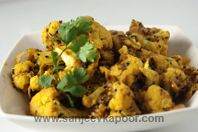 Achari Gobhi (Spicy cauliflower cooked in Indian pickling spices)