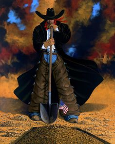 GONE TOO SOON cowgirl and cowboy painting by Lance Headlee http://lance-headlee.artistwebsites.com/featured/gone-too-soon-lance-headlee.html see more Lance Headlee original western paintings at http://lanceheadlee.com/category/contemporary-western-collection/