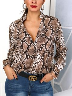Snakeskin Print Plunge Long Sleeve Blouse - Quote Shirts Fashion - Ideas of Quote Shirts Fashion - Snakeskin Print Plunge Long Sleeve Blouse Animal Print Fashion, Animal Print Blouse, Fashion Prints, Mode Outfits, Casual Outfits, Fashion Outfits, Womens Fashion, Fashion Ideas, Fashion Quotes