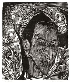 Ernst Ludwig Kirchner, woodcut.  Woodcut—occasionally known as xylography—is a relief printing artistic technique in printmaking in which an image is carved into the surface of a block of wood, with the printing parts remaining level with the surface while the non-printing parts are removed, typically with gouges. The areas to show 'white' are cut away with a knife or chisel, leaving the characters or image to show in 'black' at the original surface level.