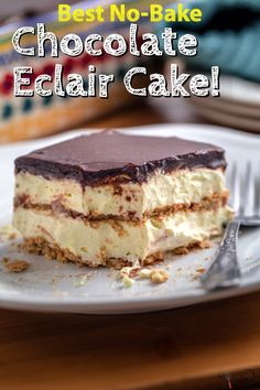 pudding desserts This no-bake chocolate eclair cake is one of the first to disappear at the dessert table! Its layered with cool whip, vanilla pudding, graham crackers and topped with homemade frosting! No Bake Eclair Cake, Eclair Cake Recipes, No Bake Cake, Eclair Recipe, Eggless Desserts, Easy Desserts, Delicious Desserts, Dessert Recipes, Layered Pudding Desserts