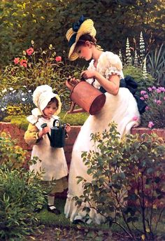 ⊰ Posing with Posies ⊱ paintings & illustrations of women & children with flowers - Leslie George Dunlop - The young gardener