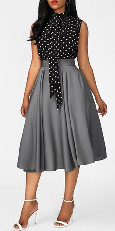 I think the polka dot print tie neck top and grey skirt outfit will be great for back to schood day. African Fashion Dresses, African Dress, Elegant Outfit, Classy Dress, Modest Fashion, Fashion Outfits, Womens Fashion, Dress Fashion, Fashion Skirts