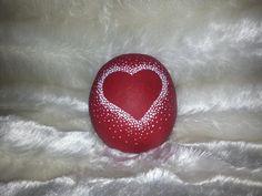 Hand painted stone Heart design by ShePaintsSeaStones on Etsy