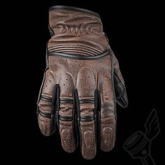Brown Speed & Strength Rust And Redemption Leather Gloves.: