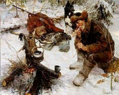 What did a Mountain Man eat? Meat, meat and more meat! Or, conversely, whatever there happened to be to eat! Food stuff was often salted or dried to preserve it, so cooking consisted of attempti… Eslava, Mountain Man Rendezvous, Empire Romain, Hunting Art, Cowboy Art, Historical Art, Le Far West, Knights Templar, Dark Ages