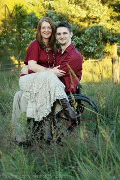 """Couple's Outdoor Holiday Photography with wheelchair. Examples of my work. Images are copyrighted & belong to Amanda Allen Shipman of Rockwall, TX. Do not remove my logo. Please """"Like"""" me at: facebook.com/MKPhotographyTX"""
