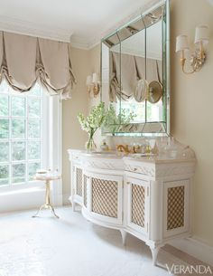 Well-Lived: Southampton Cottage  vanity. #vanity #curtains #mirror #lighting #windows #cornices