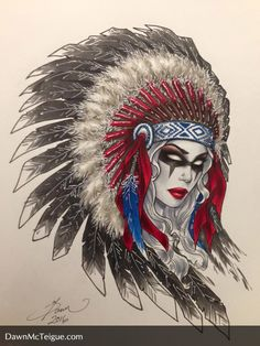 """Lady Death """"Around the World"""" commission set: Native American Chieftess. Pencils, inks & colors by Dawn McTeigue, 2016.  Tools used:  Faber Castell PITT pens, Copic Markers, Caran D'Ache aquarelle colored pencils, Sakura Gelly roll pens. Faber Castell, Memento Mori, Copic Markers, Comic Artist, Ink Color, Female Art, Colored Pencils, Lightning, Illustrators"""