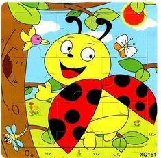 BOHS Wooden 9 Parts Educational Animals Vehicles Butterfly Beetles Tiger Bird Panda Giraffe Puzzle Toys Ladybug.