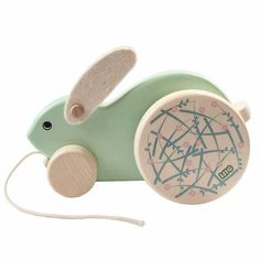 Large Rolling Rabbit - Wooden Pull Toy Toddler Toys, Baby Toys, Kids Toys, Wooden Crafts, Wooden Toys, Baby's First Easter Basket, How To Make Toys, Natural Toys, Pull Toy