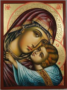High quality hand-painted Orthodox icon of Virgin Mary Glykofilousa (halo relief). BlessedMart offers Religious icons in old Byzantine, Greek, Russian and Catholic style. Religious Images, Religious Icons, Religious Art, Byzantine Art, Byzantine Icons, Catholic Art, Catholic Traditions, Roman Catholic, Jesus E Maria