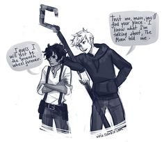 """Viria - """"Leo Valdez and Jack Frost"""" (The Heroes of Olympus and The Rise of the Guardians)for some reason I think that's Percy and not Jack Percy Jackson Serie, Percy Jackson Fandom, Riptide Percy Jackson, Percy Jackson Crossover, Magnus Chase, Fandoms Unite, Percy Jackson Personajes, Team Leo, Rick Y"""