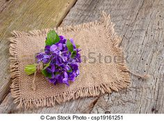 Stock Photo - Small bouquet with meadow violets on board. - stock image, images, royalty free photo, stock photos, stock photograph, stock photographs, picture, pictures, graphic, graphics