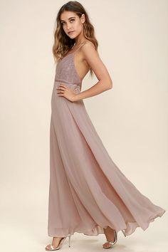 Stealing Kisses Mauve Lace Maxi Dress 2