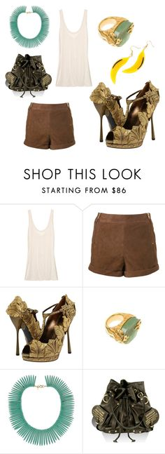 """Sparkle"" by babiesbox ❤ liked on Polyvore featuring The Row, Alexander McQueen, Prada, Yves Saint Laurent, Kenneth Jay Lane, Tylie Malibu, ysl new arty ring, suede short and alexander mcqueen shoes"