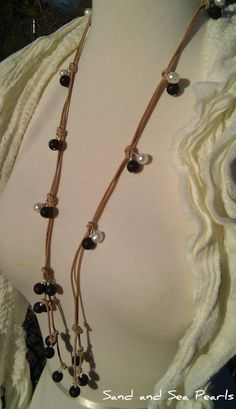 lava beads, pearls, and leather