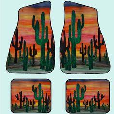 Desert sunset cactus car floor mats - Art Gifts by the Beach Car Mats, Car Floor Mats, Cactus, Truck Paint, Cute Car Accessories, Monster Truck Birthday, Desert Sunset, Horse Gear, Cute Cars