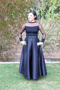It's a twist on the little black dress, as in it's a long black skirt and fancy top. I'm absolutely in the love with this outfit!