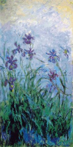 Irises by Claude Monet; cross stitch by Scarlet Quince