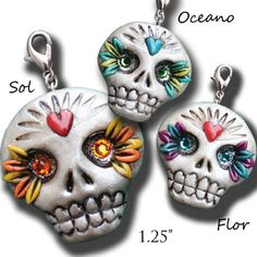JuJuBelle's handmade, no mold, out of polymer clay sugar skulls are being discontinued on March 1st.  Contact me or go to my website ASAP to order yours before they are gone.  They are works of art!  Just $18