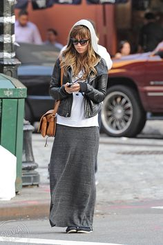 Grey maxi skirt, hoodie and Leather biker