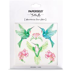 PAPERSELF Hummingbird Temporary Tattoo ($10) ❤ liked on Polyvore featuring accessories and body art