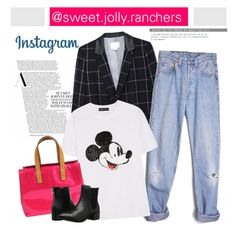 """""""Insta-Style"""" by sweet-jolly-ranchers ❤ liked on Polyvore featuring Band of Outsiders, Levi's, Markus Lupfer, Louis Vuitton, Steve Madden, instagram and hotpink"""