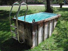 Dumpster Transformed Into a Trashtastic Portable Mini Pool | A Green Living Blog - Go Green, Green Home, Green Energy ~~~~A real redneck pool! lol