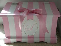 Pink Stripe Monogram keepsake chest memory box by staciedale, $255.00