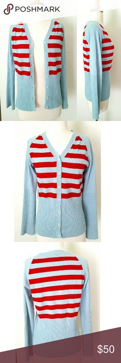 "Lily McNeal Cashmere Cardi 100% cashmere sweater/cardigan. Super soft, baby blue and red stripes, button down, ribbed te,you're on bottom half and sleeves. 18"" armpit to armpit,  sleeves are 24"" long. In excellent LIKE NEW condition. Anthropologie Sweaters Cardigans"