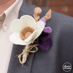 wedding boutonniere felt flowers memphis Ellywise Studios purple champagne colors