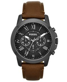 Fossil Men's Grant Brown Leather Strap Watch 44mm FS4885