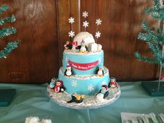 Penguin Cake - This was for a first birthday The igloo on top is the smash cake.