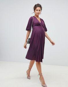 f964e7ccba9 DESIGN Maternity kimono pleated midi dress. Asos MaternityMaternity  DressesMaternity FashionPleated ...