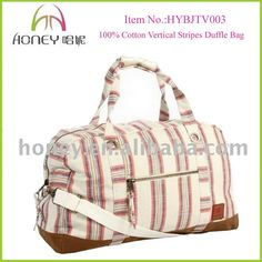 100% Cotton Vertical Fancy Stripes Duffel Bag Cute Girls Travel Bags Price