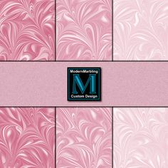 Marbled Paper - Blush Pink Swirl Set of 4 Digital Scrapbook Papers by ModernMarblingDesign on Etsy, $2.00 #marbled #marbling #paper