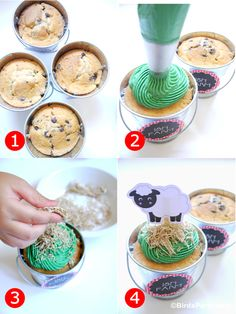 shredded wheat on cupcakes for hay: Bird's Party Blog: Cake it Pretty: Barnyard Party - Farm Animal Cupcake Pails
