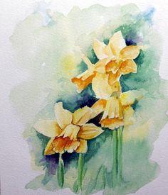 Daffods, watercolor, 24x30 cm