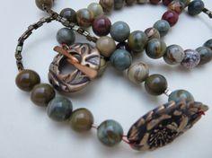 Jasper Gemstone Necklace Picaso Jasper Beaded by KBrownJewellery, £44.00