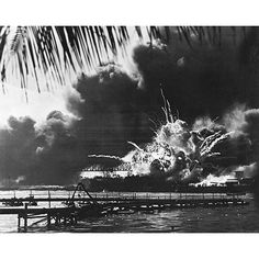 ''uss Shaw Explodes at Pearl Harbor December 7 1941'' by McMahan Photo Archive Naval Art Print