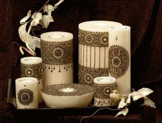 Henna decorated candles