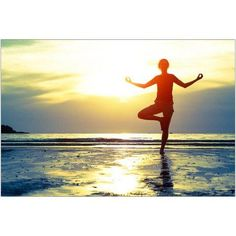 Woman Practicing Yoga on the Beach at Sunset Photography by Eazl, Size: 24 x 16, Yellow