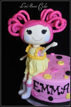 Lalaloopsy Cake By LorisSweetCakes The Lalaloopsy doll was made entirely of rice crispie and fondant.