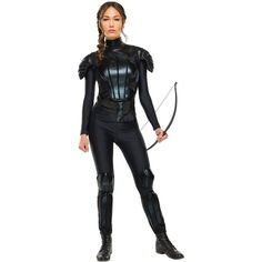 The Hunger Games: Mockingjay Part 1 Deluxe Womens Katniss Costume (€58) ❤ liked on Polyvore featuring costumes, halloween costumes, black halloween costumes, deluxe costumes, pink ladies costume, womens black widow costume and lady bug costumes