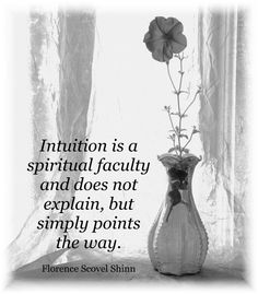 Intuition is a spiritual faculty and does not explain but simply points the way - Florence Scovel Shinn