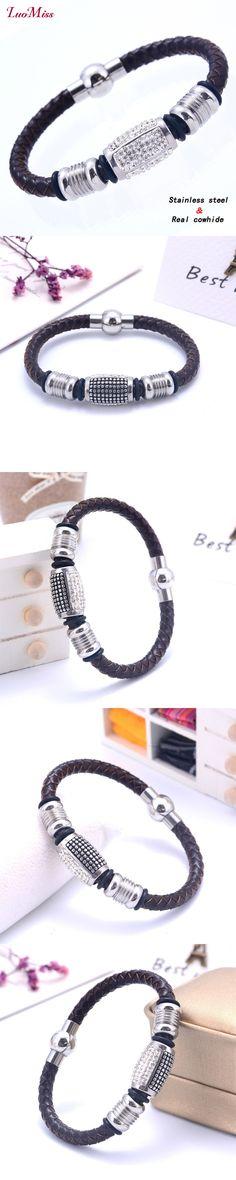 2017 New Zircon Leather Magnet bracele Cowhide Rope Charm Style Bracelets for Women Men Stainless Steel 41810