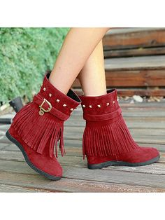 Tassel Rivet Increase Within Women Fashion Boots Get the latest womens fashion online With of new styles every day from dresses, onesies, heels, & coats, # Thigh High Boots Flat, Flat Boots, Latest Fashion Clothes, Latest Fashion For Women, Womens Fashion, Fashion Online, Fashion Dresses, Cheap Boots, Buckle Boots